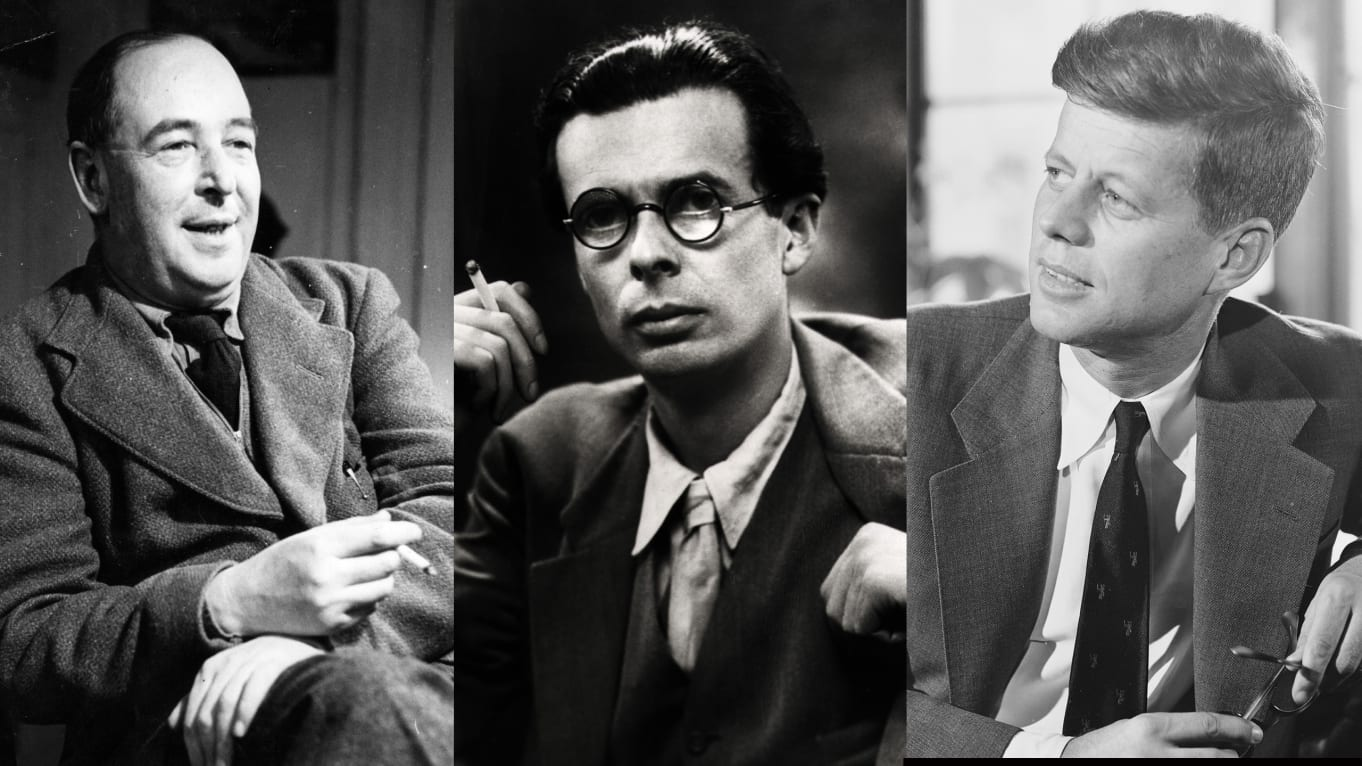 C S Lewis, A Huxley and J F Kennedy